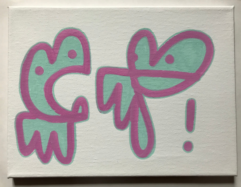 Medium Bunny Tag on Canvas - I'm a rolling stone