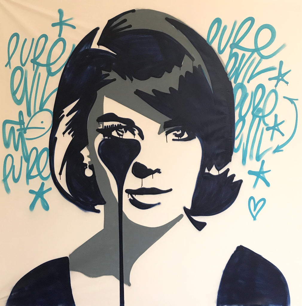 Natalie Wood with Drips Large freehand spraypaint CANVAS