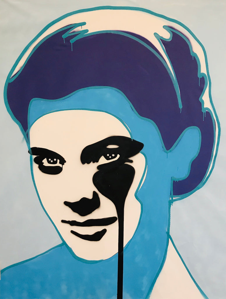 Grace Kelly with Drips Large freehand CANVAS