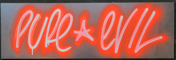 Cracked Neons Orange Pure Evil Tag on Metal