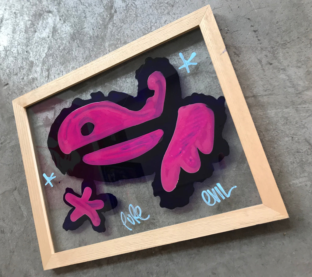 Medium Bunny Tag in clear wood frame - The blob