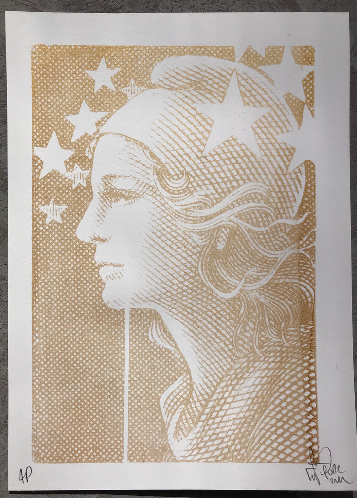Marianne - French Stamp Gold Print
