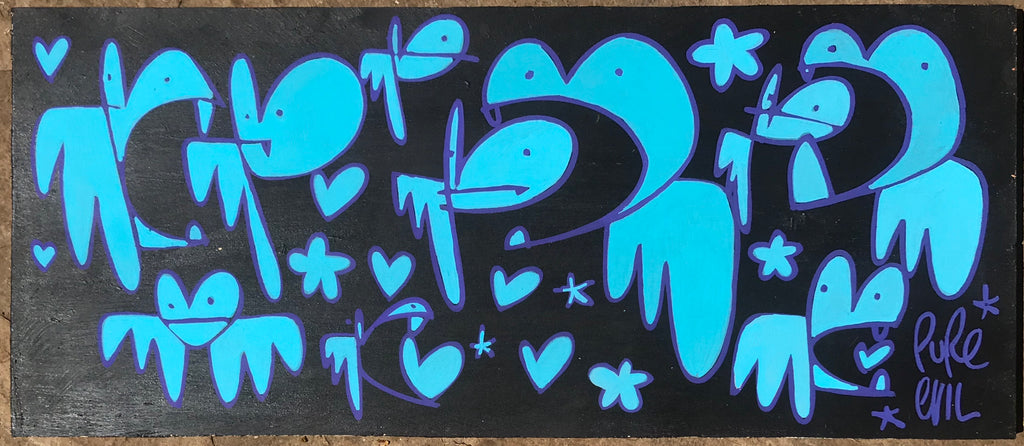You can't handle the tooth - Bunny Tags on wooden  panel