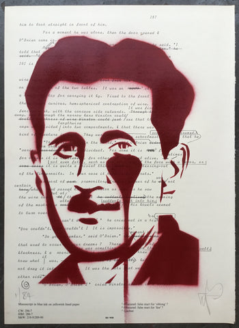 George Orwell - Stencil on 1984 book page for World Book Day 2019