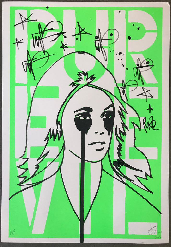 Handfinished Art Car Boot Fair - Flouro green Sharon Tate Stencil letters