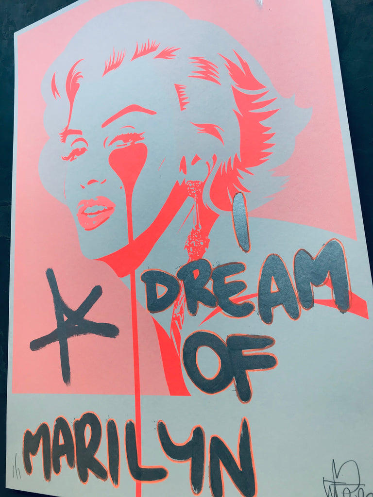 Handfinished Spitalfields print - I dream of krink marilyn
