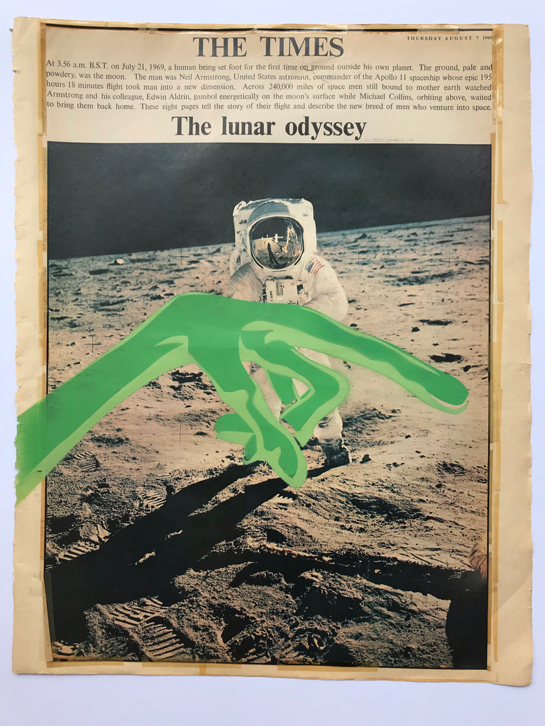 Alien / Astronaut - Framed Stencils on original 1960's newspaper cuttings for Apollo 11 Anniversary
