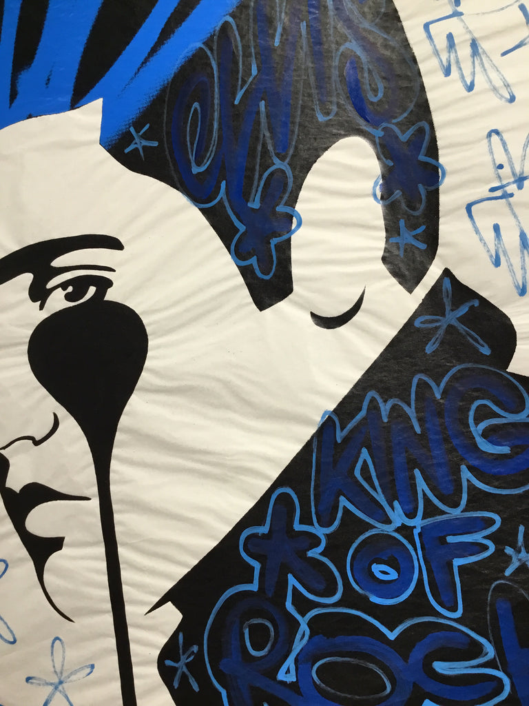 Pure Elvis - blue paste up - king of rock