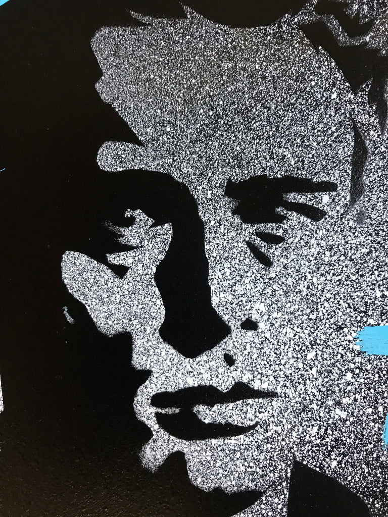 Rebel Rebel - James Dean Black and White Stencil on Black Metal