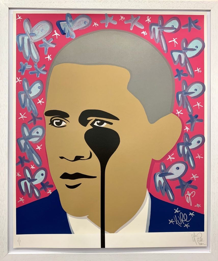 Crying Obama - Metallic Blue Bunny Fills
