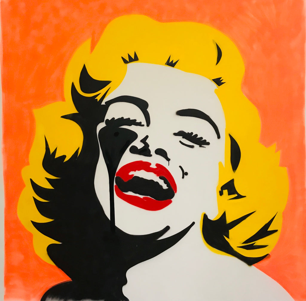 Screaming Marilyn Large freehand spraypaint CANVAS