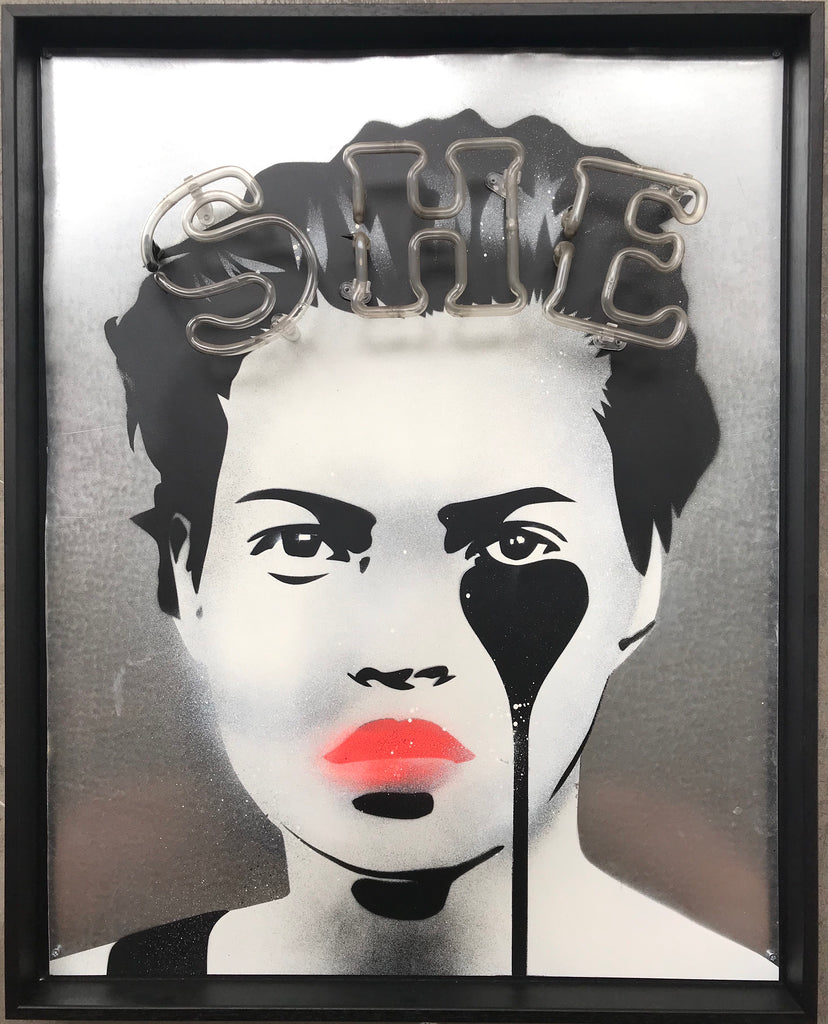 SHE - Kate Moss on metal with neon glass in black tray frame.