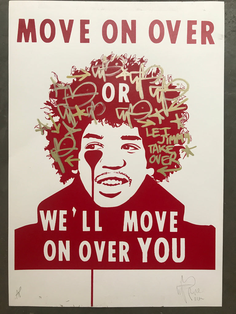 Handfinished Art Car Boot Fair - move on over let jimi take over