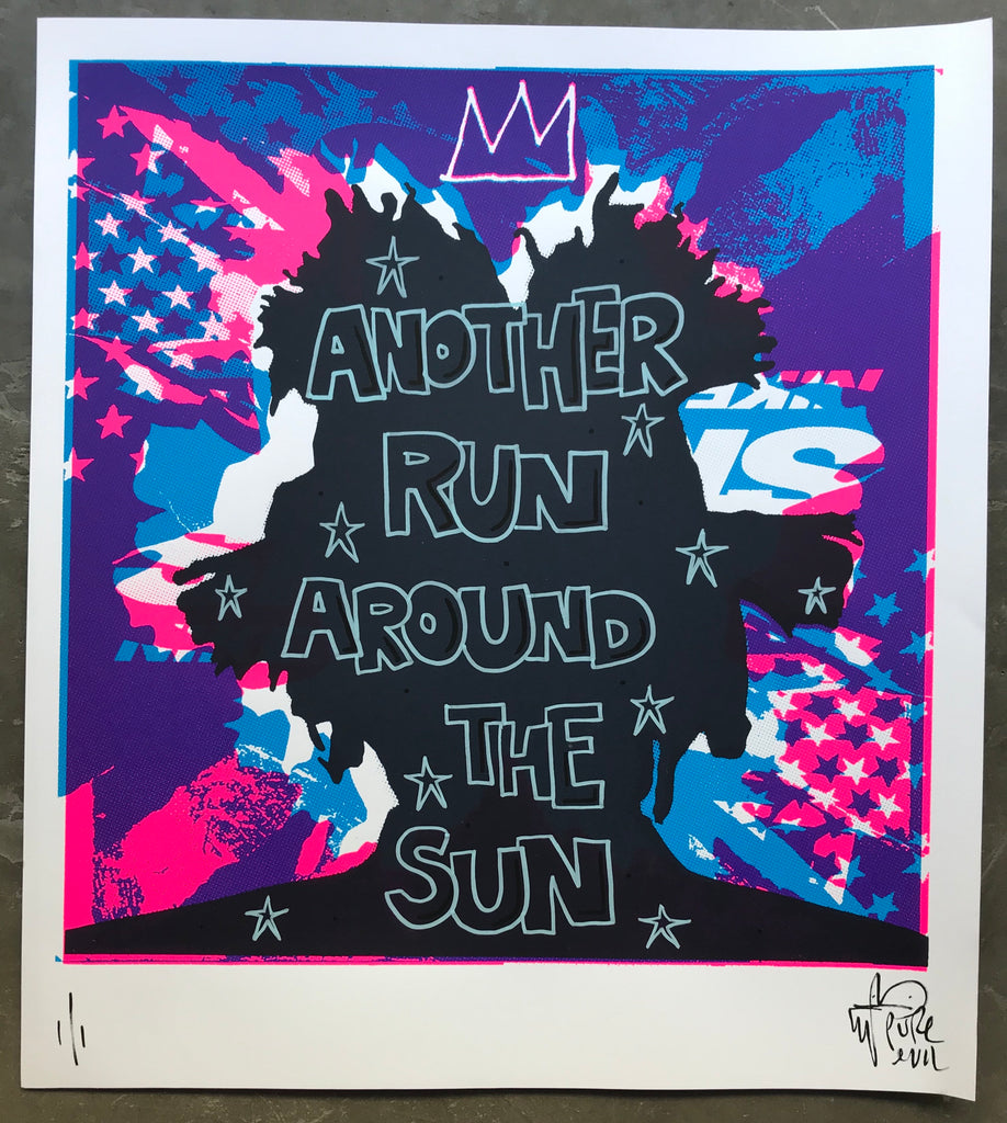 Basquiat SAMO silhouette handfinished print - another run around the sun