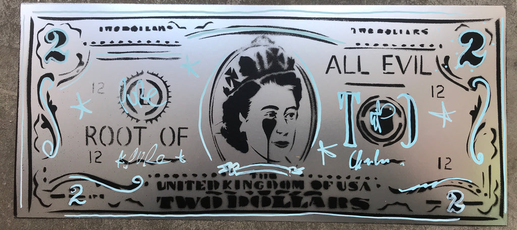 United Kingdom of USA Two Dollar Bill Handfinished Stencil