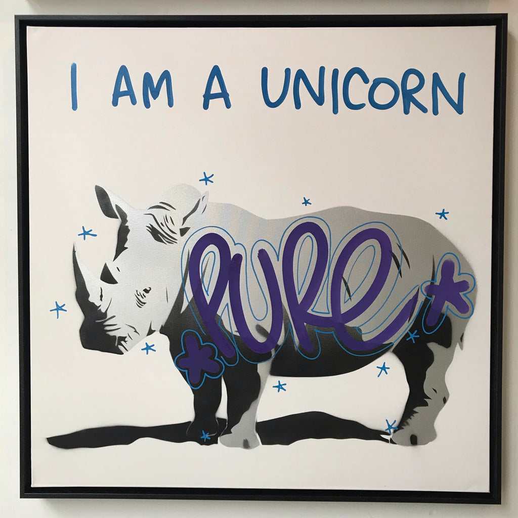I Am A Unicorn - Pure Canvas in DEATH DISCO black sparkle tray frame