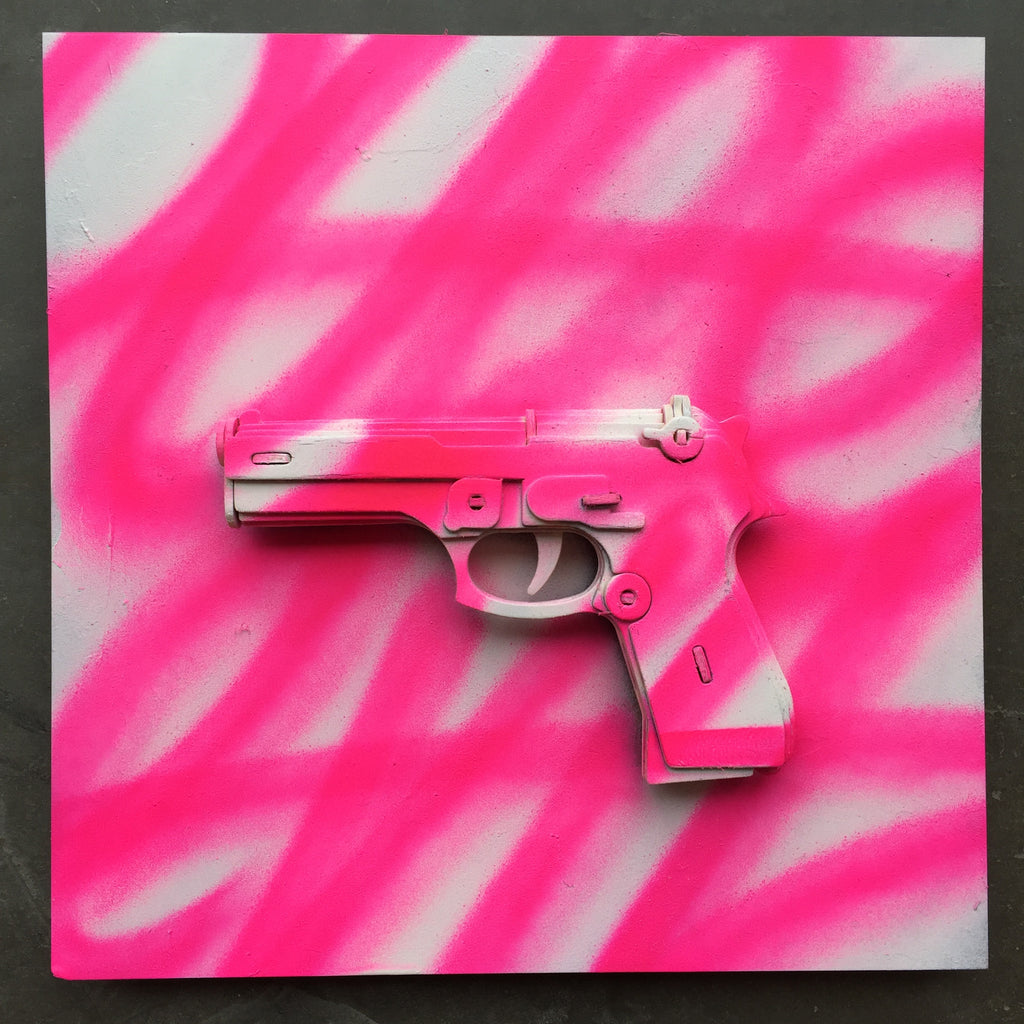 Pure Evil Pink and White tagged Gun