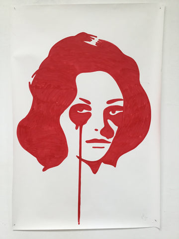Red Liz - Swedish Show KRINK drawing on paper