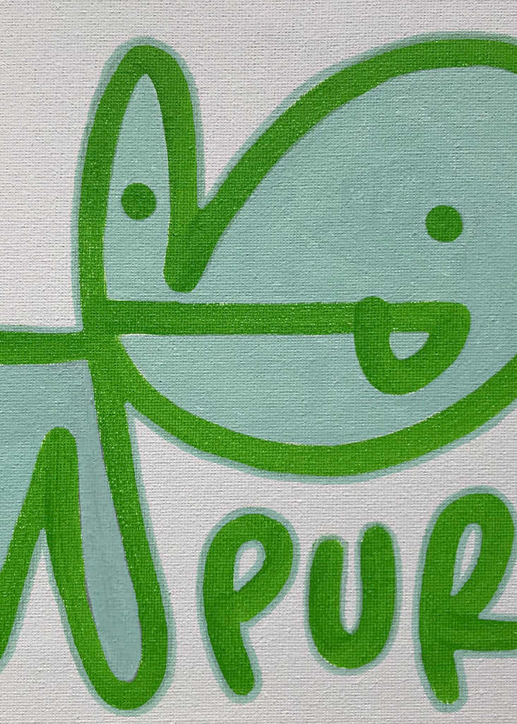 Medium Bunny Tag on Canvas - Minty Freshness