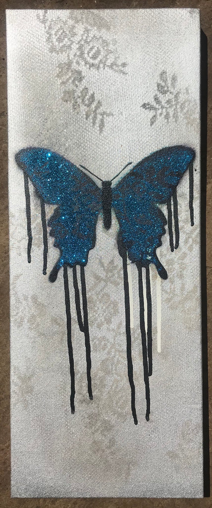 Crossie - Lacewing - Blue Butterfly on canvas