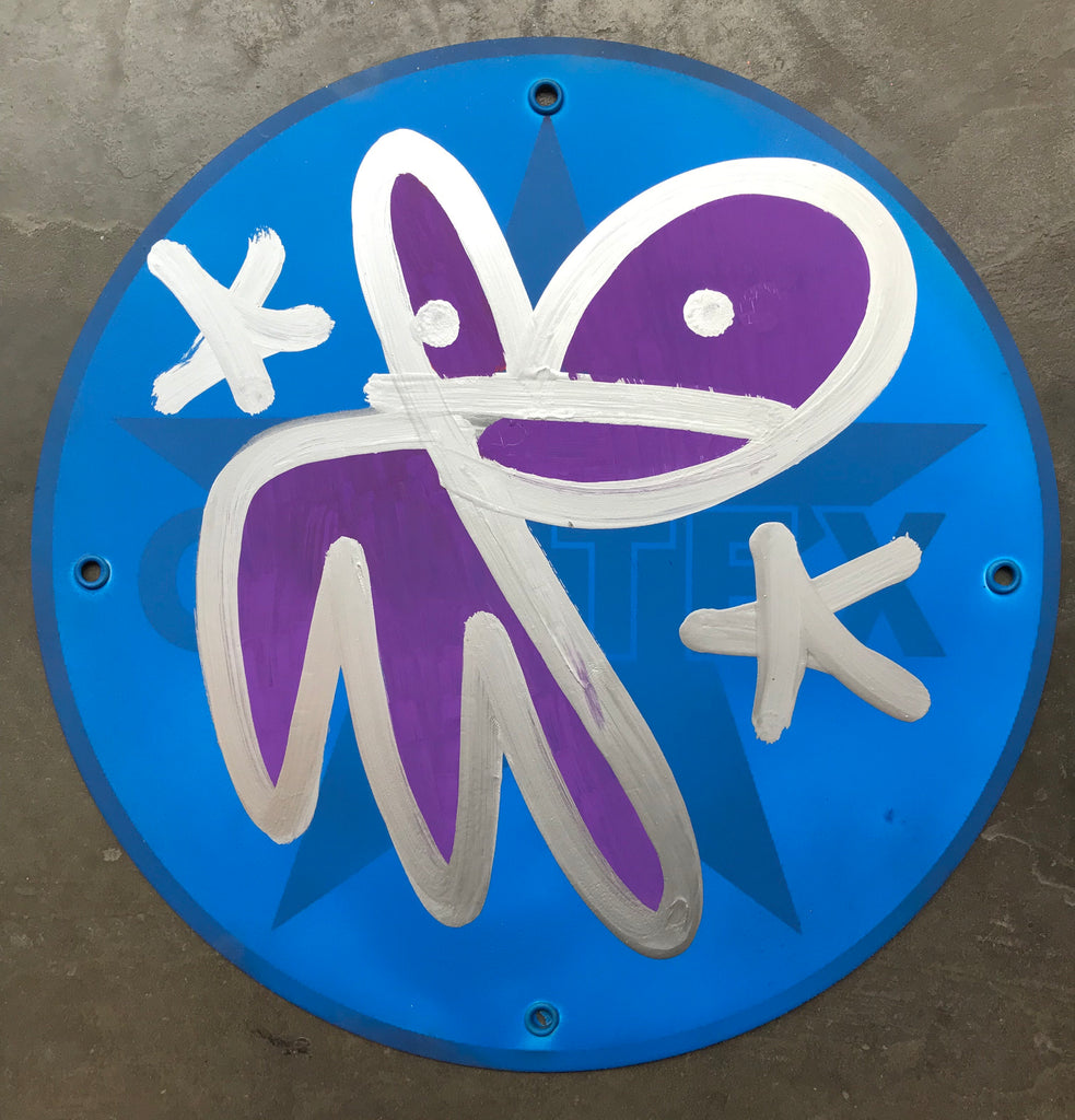 Silver Bunny tag Caltex on metal sign