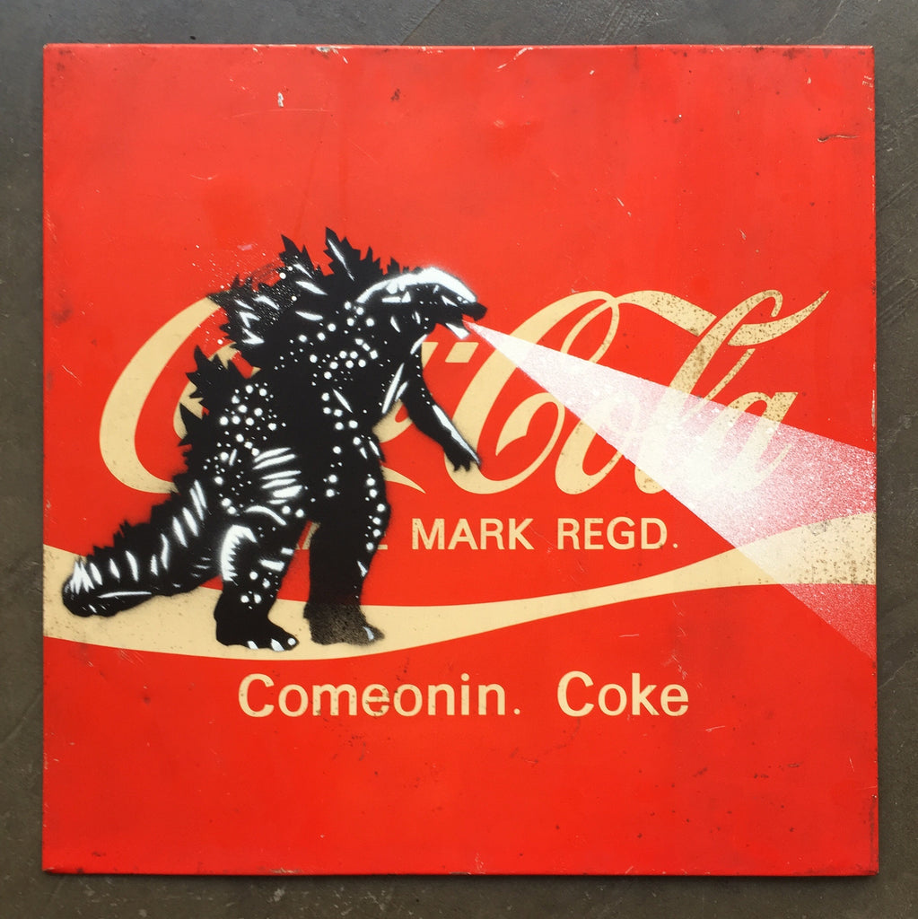 5G Godzilla on double sided Showa Era Japanese Sign - Coca Cola