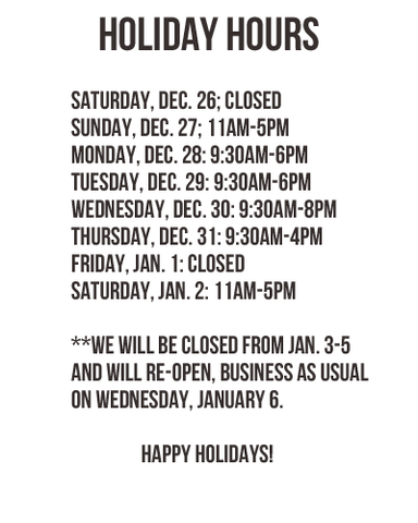 Beaded Dreams Holiday Hours 2015