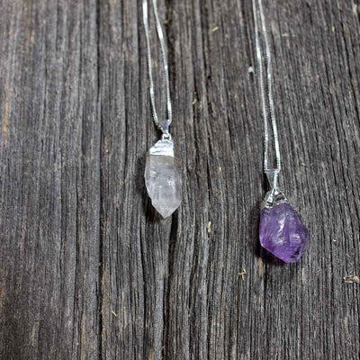 Crystal Quartz & Amethyst Pendant Necklaces - Beaded Dreams  - 1