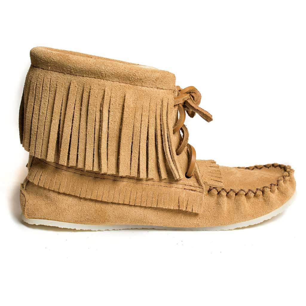 Moka Suede Ankle High Moccasin w/ Fringe