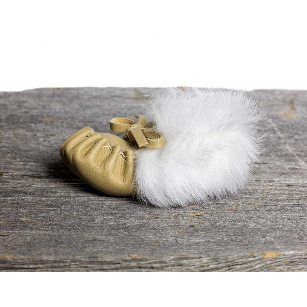 White Rabbit Fur Cream Baby Moccasin - Beaded Dreams  - 1