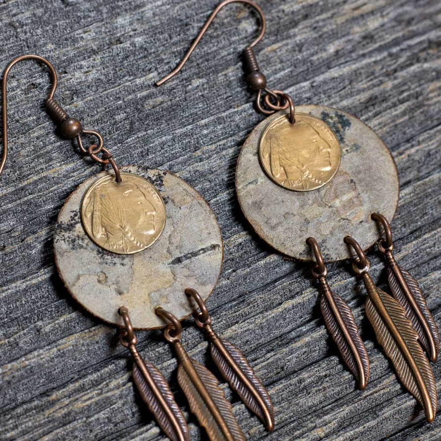 Birch Bark Earrings w/ Native Coin in Center