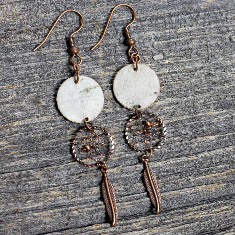 Birch Bark Earrings w/ Dreamcatcher