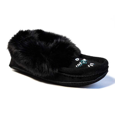 Black Moccasin w/ Rabbit Fur