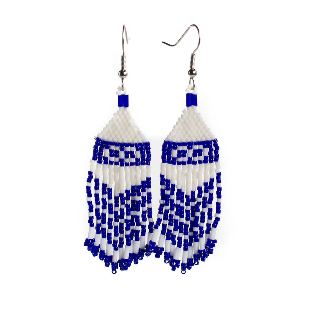 Metis Flag Earrings - Available in Blue & Red - Beaded Dreams  - 1