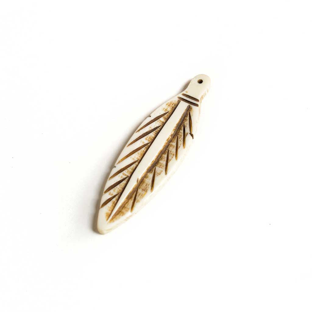 Bone Feather Pendant w/ Black Detail