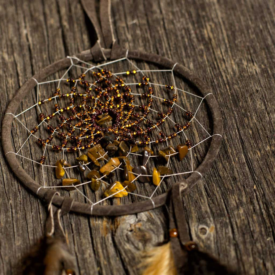 'Energy Flow' Brown Dreamcatcher - Beaded Dreams  - 1