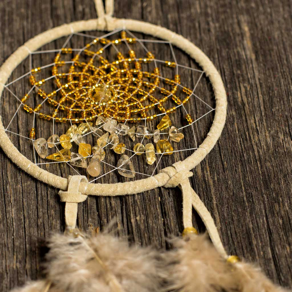 'Energy Flow' Tan Dreamcatcher - Beaded Dreams  - 1