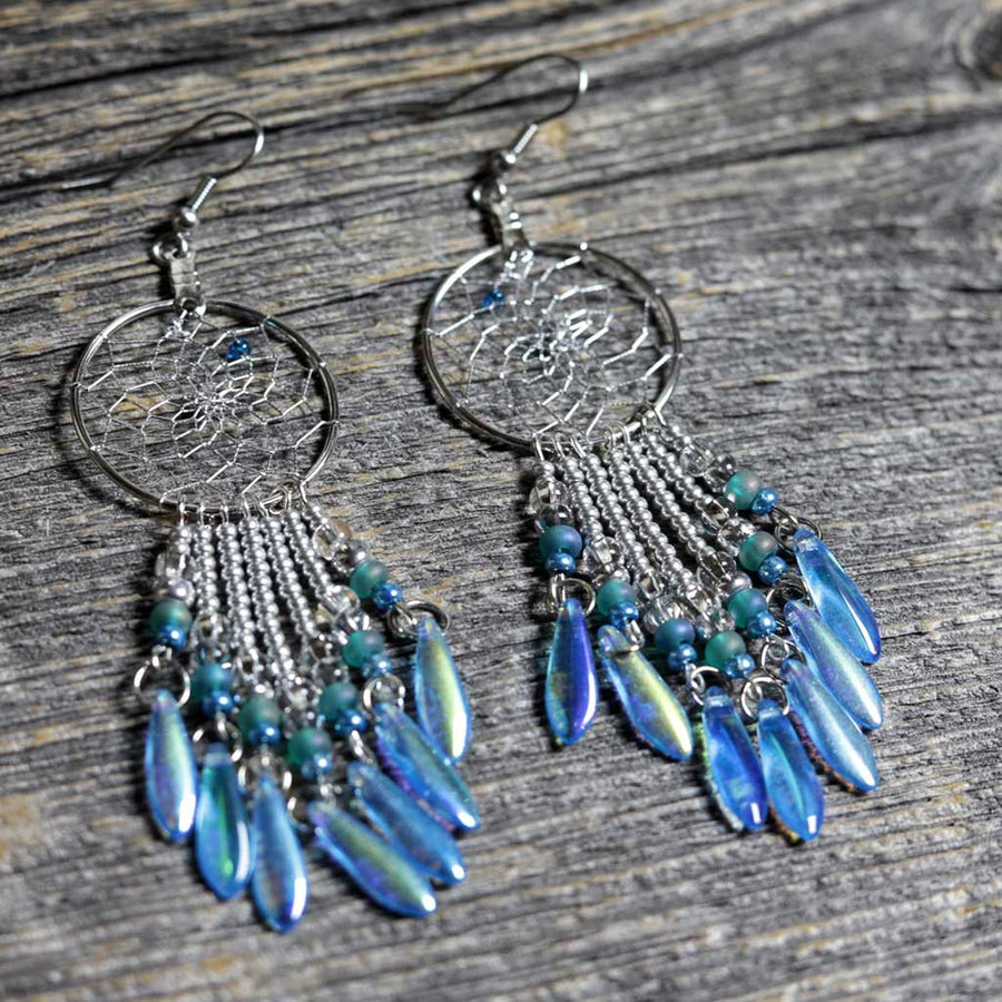 Aqua Dreamcatcher Earrings