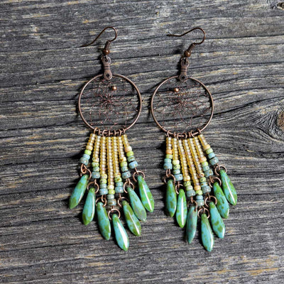 Copper Dreamcatcher Earrings w/ Dangles