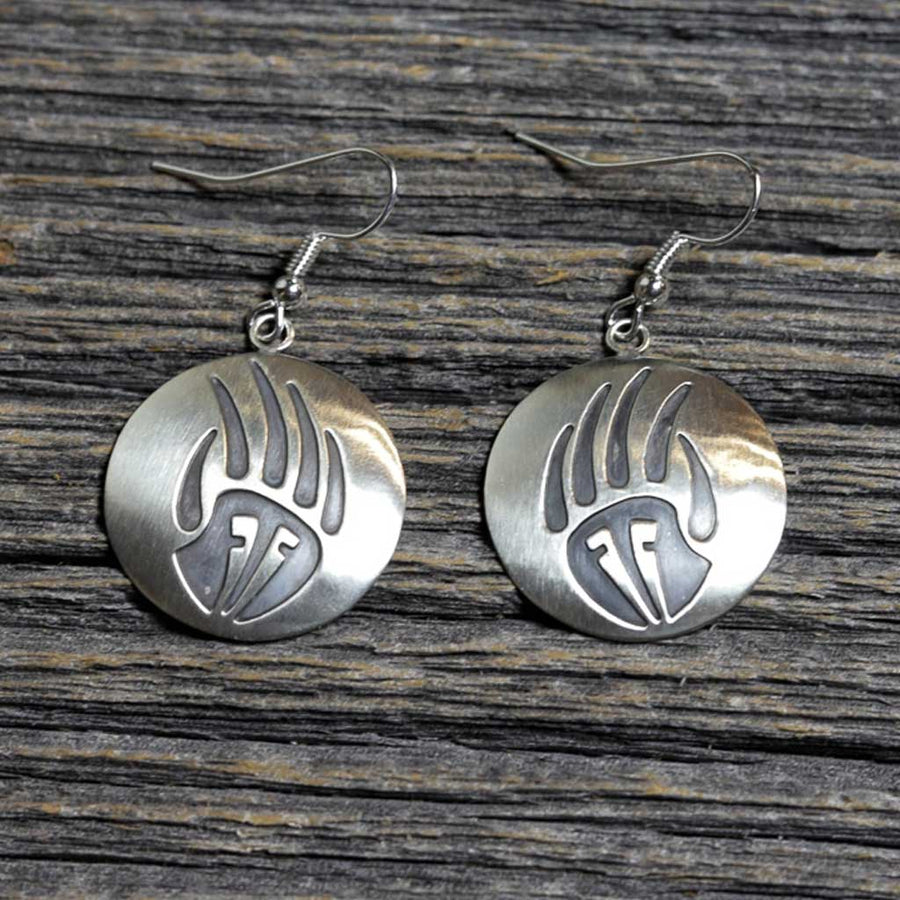Navajo Silver Bear Paw Earrings by Stanley Gene