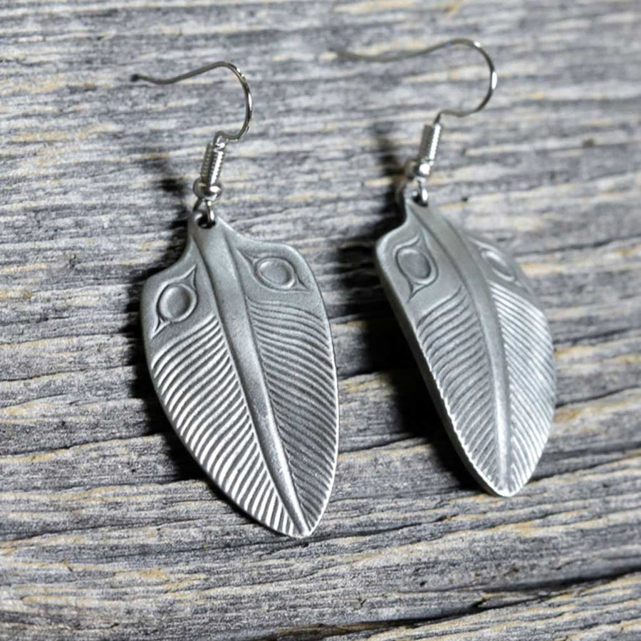Pewter Feather Earrings