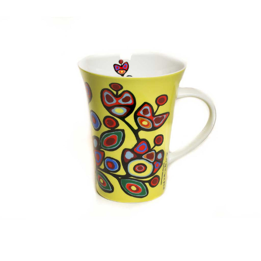 'Floral on Yellow' mug by Norval Morrisseau