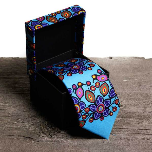 Slim Silk Tie - 'Flowers & Birds' by Norval Morrisseau