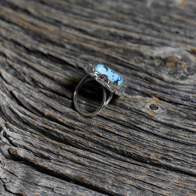 Ladies Silver & Sleeping Beauty Turquoise Ring - Size 7.5