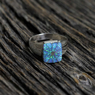 Ladies Zuni Silver Opal Inlay Ring - Size 8.75