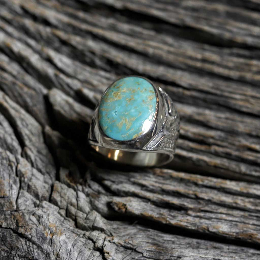 Men's Silver & Green Turquoise Thunderbird Ring by Ella Cowboy - Size 9.75