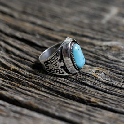 Men's Silver & Turquoise Thunderbird Ring by Ida McCrae