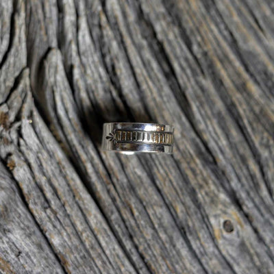 Men's Navajo Silver & 14kt Gold Ring - Size 9