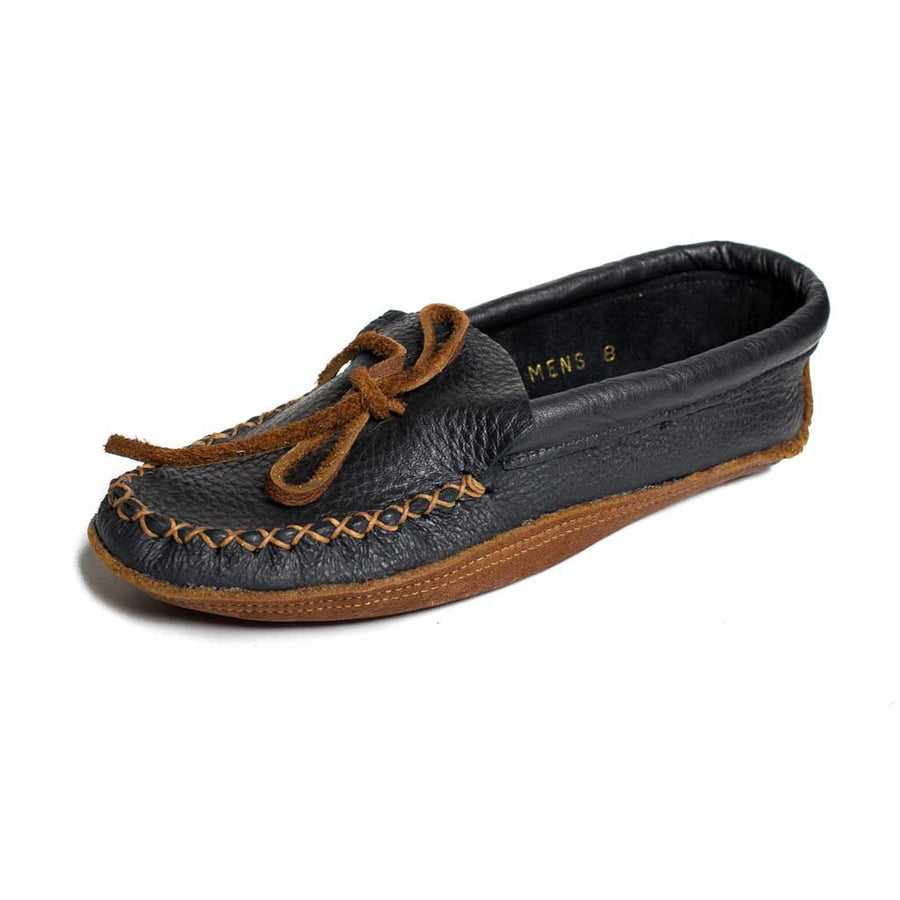 Men's Black Moose Hide Moccasin w/ Buffalo Sole - Beaded Dreams