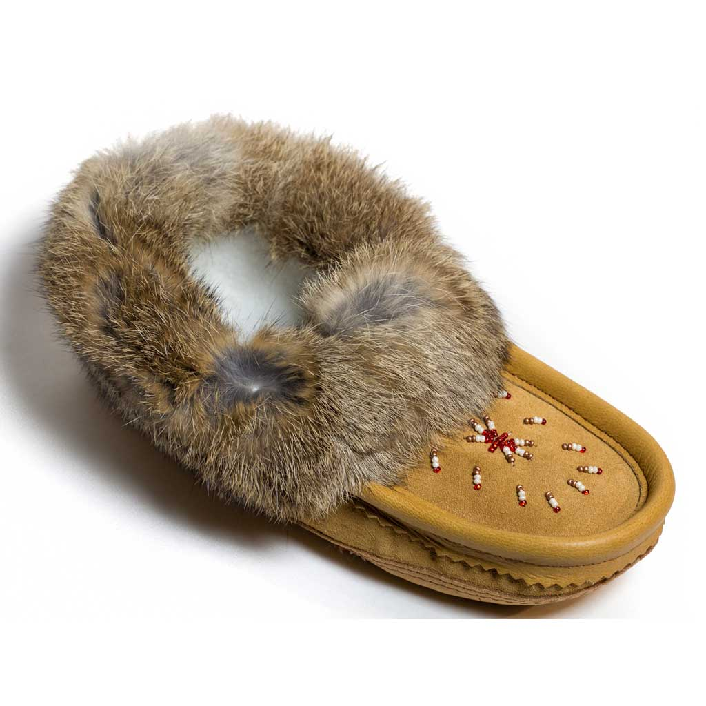 Dark Tan Moccasin with Rabbit Fur Trim